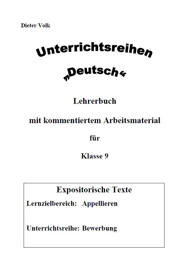 Unterrichtsreihe Deutsch: Bewerbung Klasse 9