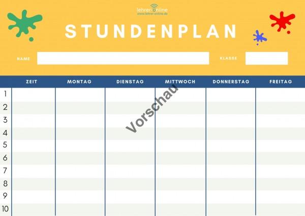 3 Kopiervorlagen: Stundenplan für die Grundschule