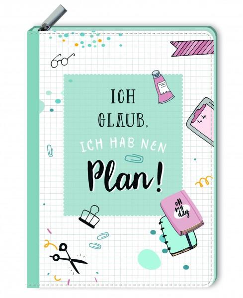 Notizbuch mit Reißverschluss - Ich glaub, ich hab nen Plan! - monbijou