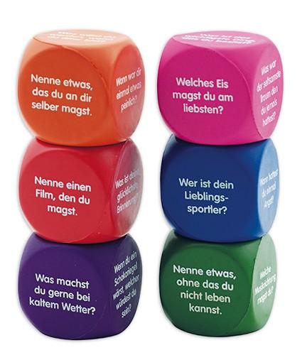 """Set Flüster-Würfel 6-tlg. Deutsch """"Fragen"""", 4 cm"""