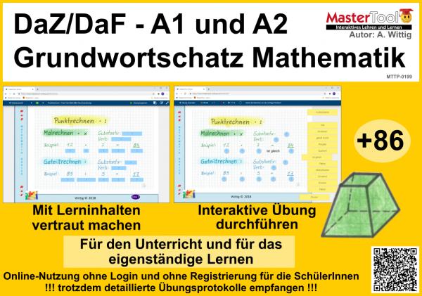 DaZ/DaF - interaktiv Grundwortschatz Mathematik lernen - A1 u. A2 (TP 199)