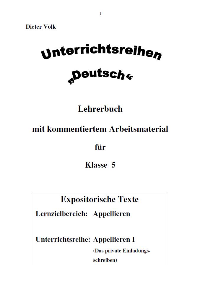 Unterrichtsreihe Deutsch: Appellieren I Klasse 5