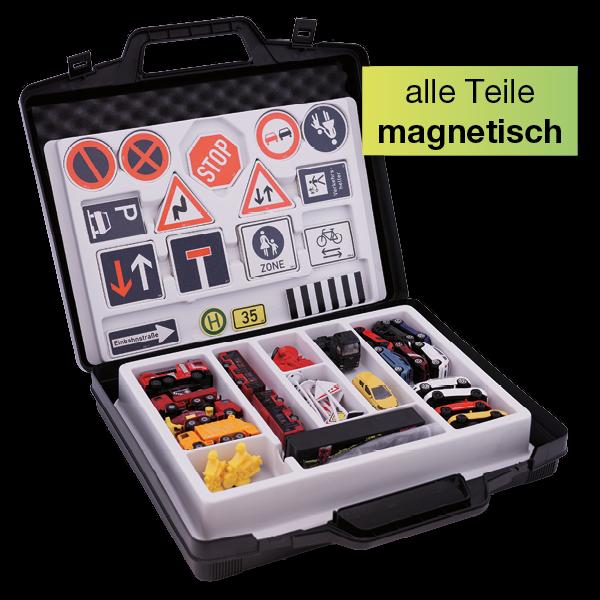 Verkehrs-Komplett-Set magnetisch, 100-tlg. im Koffer