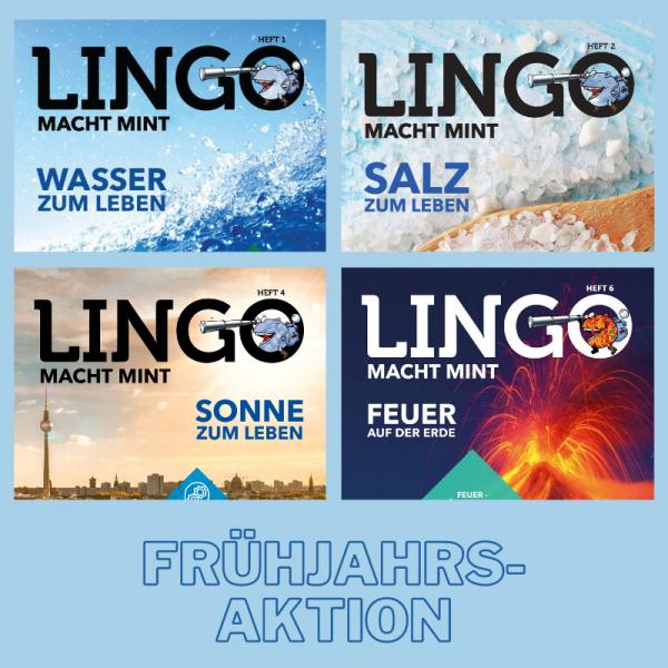 Set 4 Lingo-Magazine - Versand sparen: Salz, Wasser, Sonne und Feuer