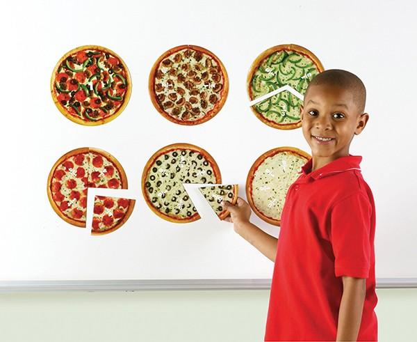 """Demo-Bruchrechen-Kreise """"Pizza"""", 200 mm ø, magnetisch, 24-tlg."""