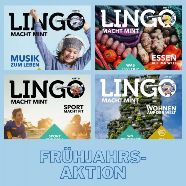 Set 4 Lingo-Magazine - Versand sparen: Musik, Essen, Sport und Wohnen
