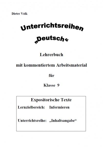 Unterrichtsreihe Deutsch: Inhaltsangabe Klasse 9