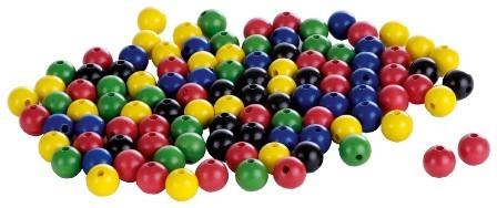 Perlen 12 mm, je 20 x rot, gelb, grün, blau