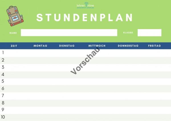 2 Kopiervorlagen: Stundenplan für Ganztagsschulen