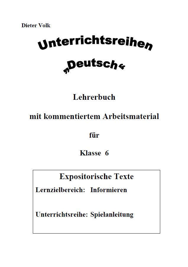 Unterrichtsreihe Deutsch Spielanleitung Klasse 6 Lehrer Online