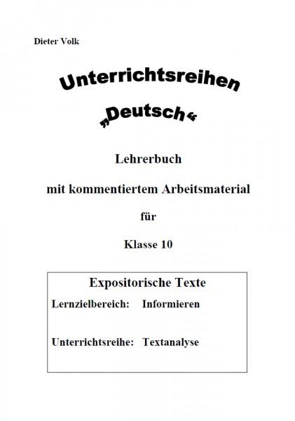 Unterrichtsreihe Deutsch: Textanalyse Klasse 10