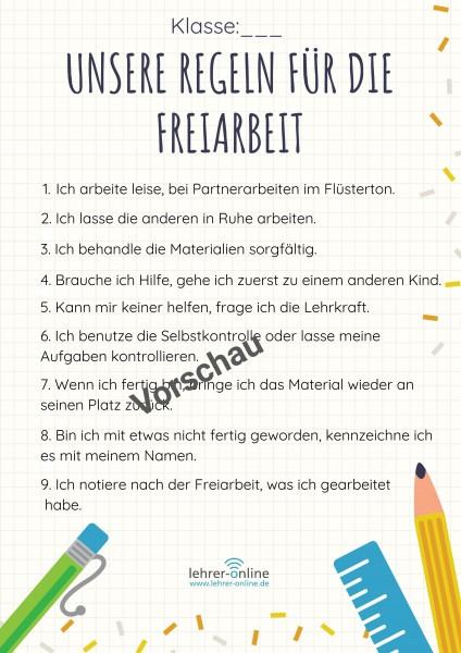 Poster: Regeln für die Freiarbeit in der Grundschule