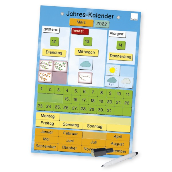 Jahres-Kalender magnetisch, ca. 28 x 41 cm